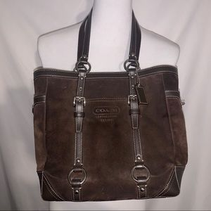 COACH Dark Brown Suede & Leather Shoulder Bag